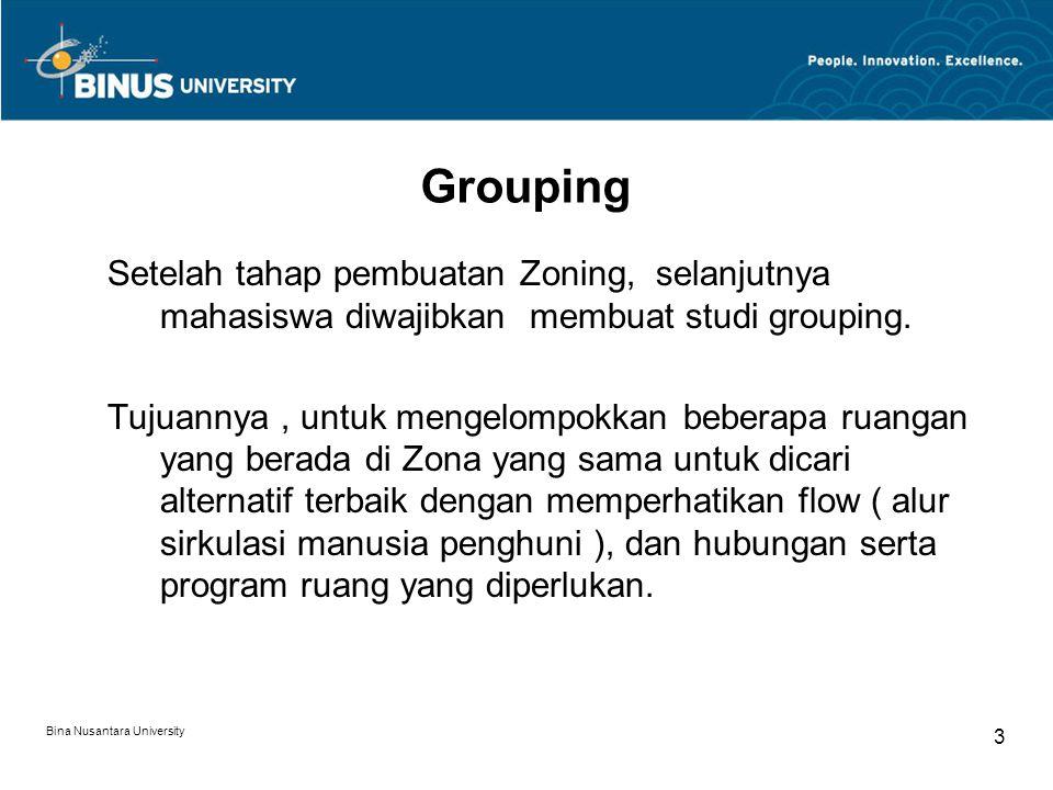 Bina Nusantara University 3 Setelah tahap pembuatan Zoning, selanjutnya mahasiswa diwajibkan membuat studi grouping.