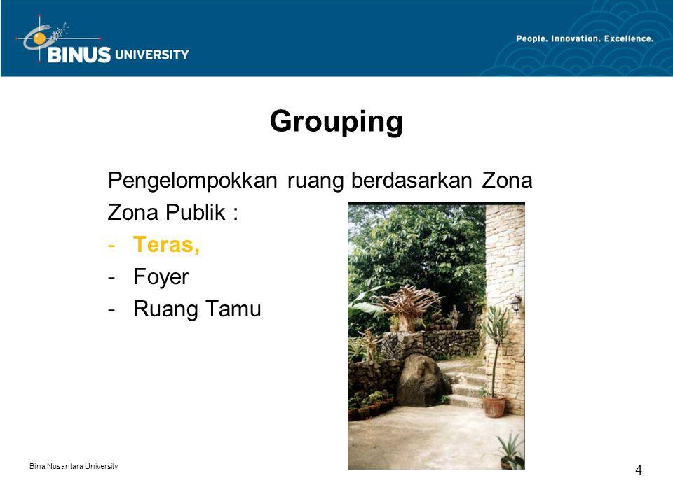 Pengelompokkan ruang berdasarkan Zona Zona Publik : -Teras, -Foyer -Ruang Tamu Bina Nusantara University 4 Grouping
