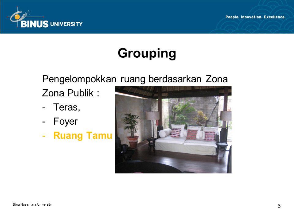Pengelompokkan ruang berdasarkan Zona Zona Publik : -Teras, -Foyer -Ruang Tamu Bina Nusantara University 5 Grouping