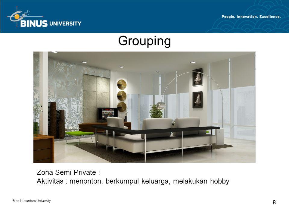 Bina Nusantara University 8 Zona Semi Private : Aktivitas : menonton, berkumpul keluarga, melakukan hobby