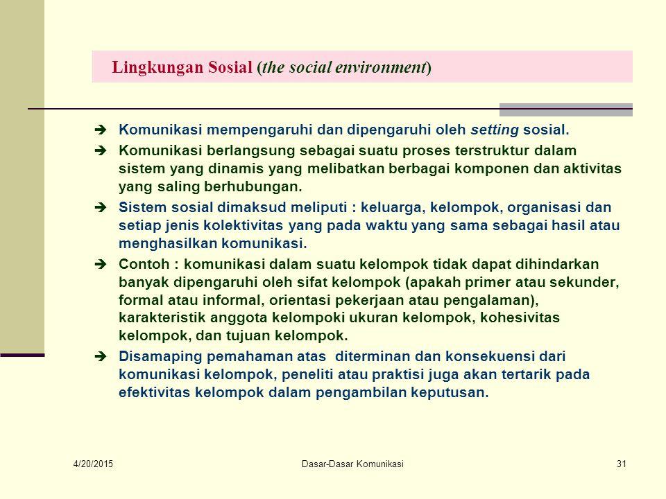 4/20/2015 Dasar-Dasar Komunikasi31 Lingkungan Sosial (the social environment)  Komunikasi mempengaruhi dan dipengaruhi oleh setting sosial.