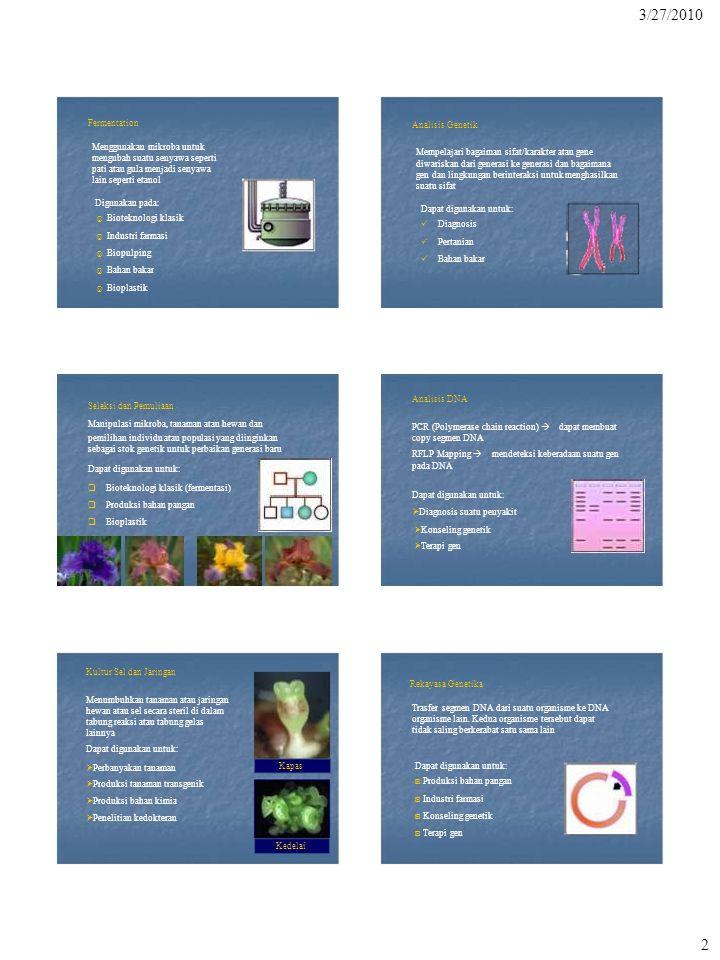 3 ---------------------------------------------------------------------------------------------------- Parameter Pemuliaan Selektif Rekayasa Genetika ----------------------------------------------------------------------------------------------------  Tingkat Organisme utuh Sel atau molekul  Ketepatan  Kepastian Sekumpulan gen Perubahan genetik sulit atau tidak Satu gen tunggal Perubahan bahan genetik dikarakterisasi mungkin dikarakterisasi dengan baik  Batasan taksonomi Hanya dapat dipakai Tidak ada batasan 3/27/2010 Bioteknologi Molekular Perbedaan antara pemuliaan selektif dan rekayasa genetika  Didorong oleh pengetahuan tentang biologi sel dan molekular  Memanipulasi suatu organisme pada taraf selular dan molekular (rekayasa genetika dan biologi molekular)  Hasil manipulasi dapat diprediksi dan diarahkan dengan ketepatan yang lebih tinggi  Dapat mengkonstruksi galur/varietas baru dengan bahan genetik tambahan yang tidak pernah ada pada galur asalnya dalam satu spesies taksonomi atau satu genus ----------------------------------------------------------------------------------------------------------------------------------------------------------------------- Penggabungan antara teknologi DNA rekombinan dengan bioteknologi melahirkan suatu bidang studi yang sangat dinamis dan kompetitif yang disebut Bioteknologi Molekuler Industri bioteknologi molekuler adalah industri yang berbasis riset (research-based industry) Melibatkan berbagai disiplin ilmu.