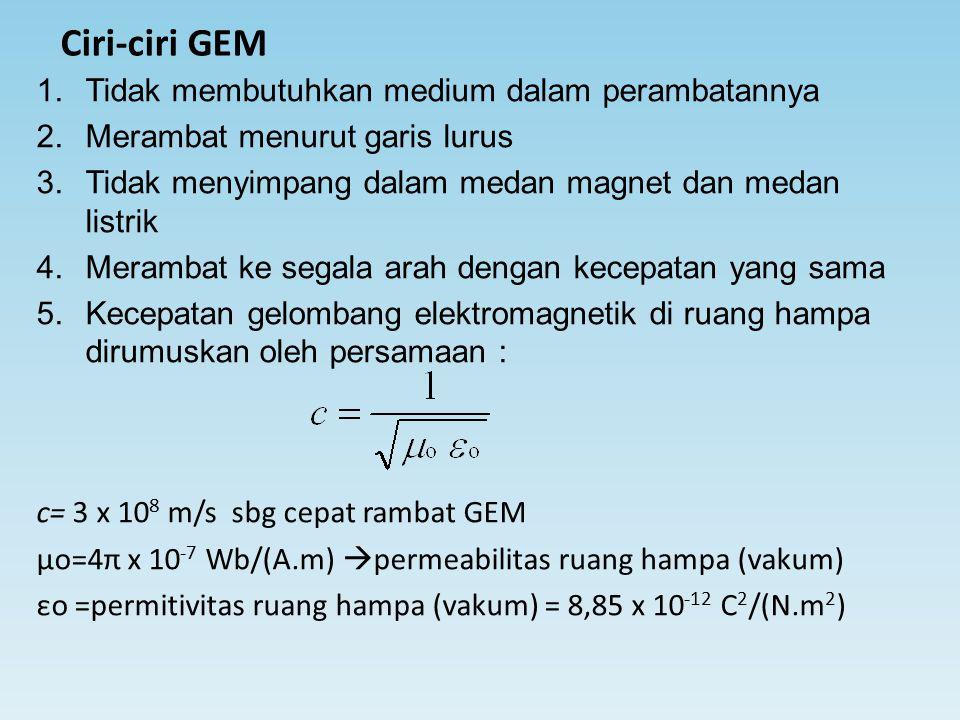 Ciri-ciri GEM 1.Tidak membutuhkan medium dalam perambatannya 2.Merambat menurut garis lurus 3.Tidak menyimpang dalam medan magnet dan medan listrik 4.