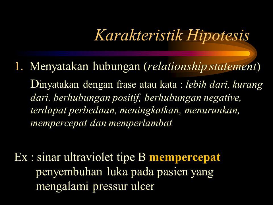 Karakteristik Hipotesis 1.Menyatakan hubungan (relationship statement) D inyatakan dengan frase atau kata : lebih dari, kurang dari, berhubungan positif, berhubungan negative, terdapat perbedaan, meningkatkan, menurunkan, mempercepat dan memperlambat Ex : sinar ultraviolet tipe B mempercepat penyembuhan luka pada pasien yang mengalami pressur ulcer
