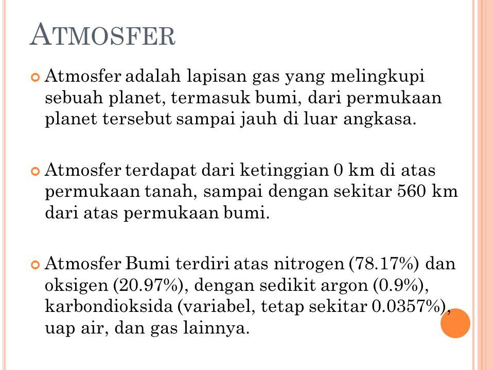 A TMOSFER Atmosfer adalah lapisan gas yang melingkupi sebuah planet, termasuk bumi, dari permukaan planet tersebut sampai jauh di luar angkasa.