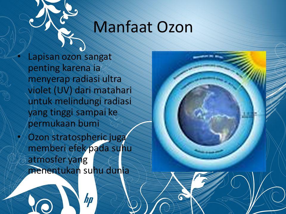 Manfaat Ozon Lapisan ozon sangat penting karena ia menyerap radiasi ultra violet (UV) dari matahari untuk melindungi radiasi yang tinggi sampai ke per