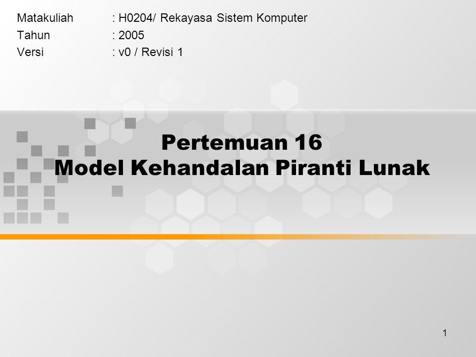 1 Pertemuan 16 Model Kehandalan Piranti Lunak Matakuliah: H0204/ Rekayasa Sistem Komputer Tahun: 2005 Versi: v0 / Revisi 1