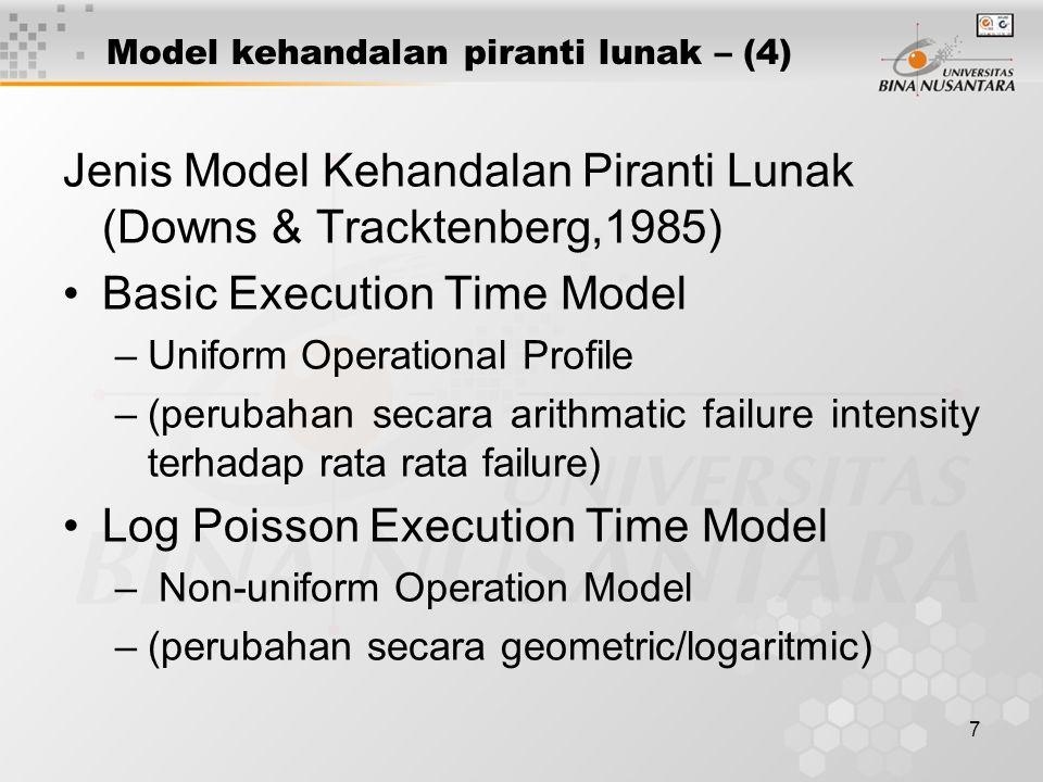 7 Model kehandalan piranti lunak – (4) Jenis Model Kehandalan Piranti Lunak (Downs & Tracktenberg,1985) Basic Execution Time Model –Uniform Operationa