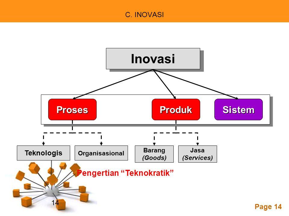 "Powerpoint Templates Page 14 C. INOVASI Inovasi Teknologis Jasa (Services) Organisasional Barang (Goods) ProsesProdukSistem Pengertian ""Teknokratik"" 1"
