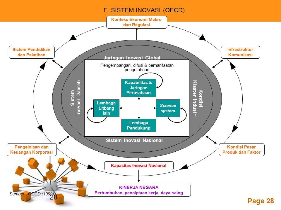 Powerpoint Templates Page 28 Sistem Pendidikan dan Pelatihan Sumber : OECD (1999). Konteks Ekonomi Makro dan Regulasi Infrastruktur Komunikasi Pengelo