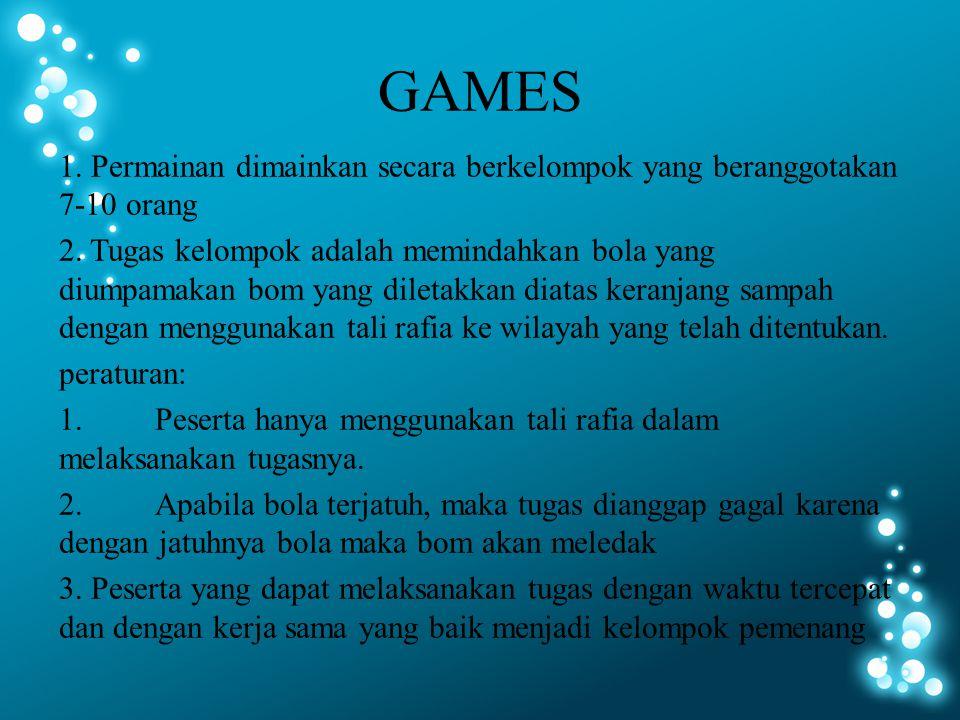 1.Permainan dimainkan secara berkelompok yang beranggotakan 7-10 orang 2.