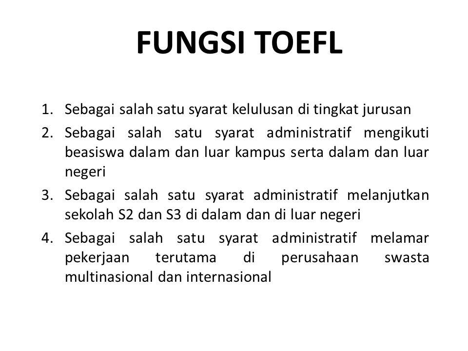 FUNGSI TOEFL 1.Sebagai salah satu syarat kelulusan di tingkat jurusan 2.Sebagai salah satu syarat administratif mengikuti beasiswa dalam dan luar kamp