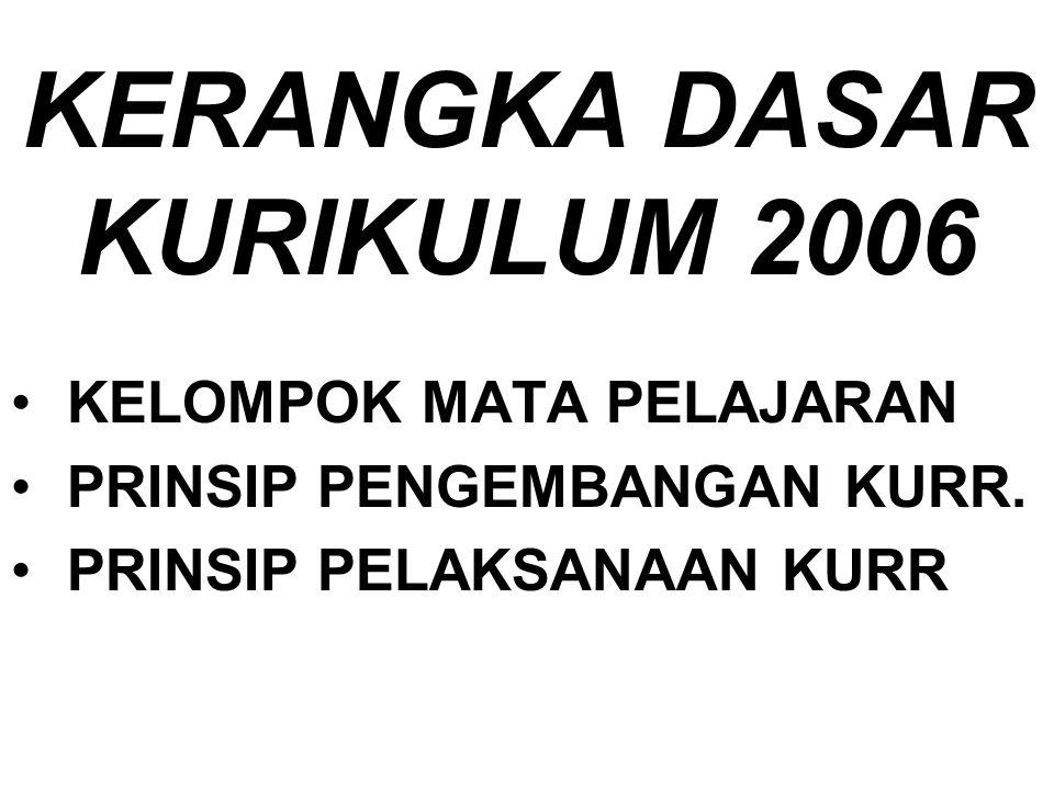 KERANGKA DASAR KURIKULUM 2006 KELOMPOK MATA PELAJARAN PRINSIP PENGEMBANGAN KURR.