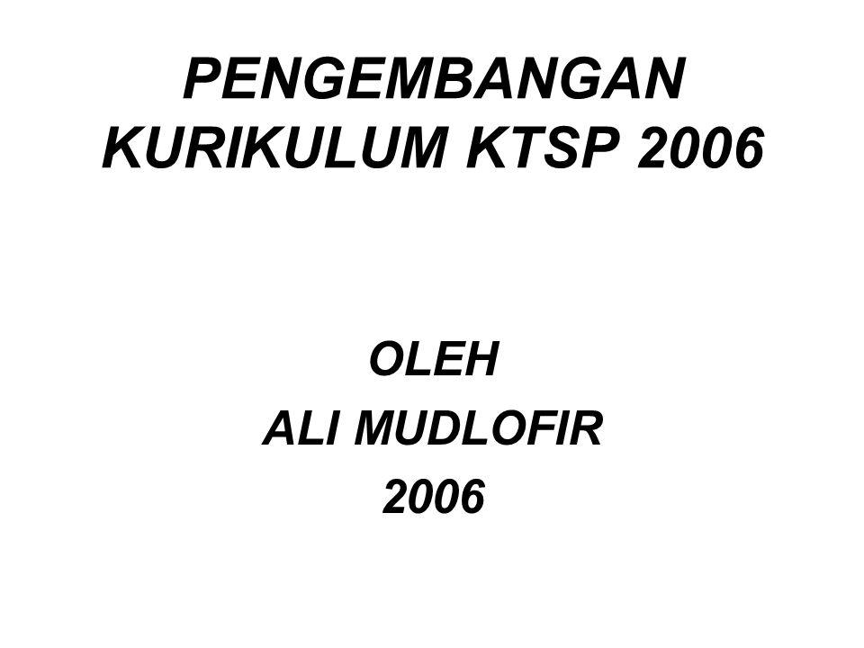 PENGEMBANGAN KURIKULUM KTSP 2006 OLEH ALI MUDLOFIR 2006