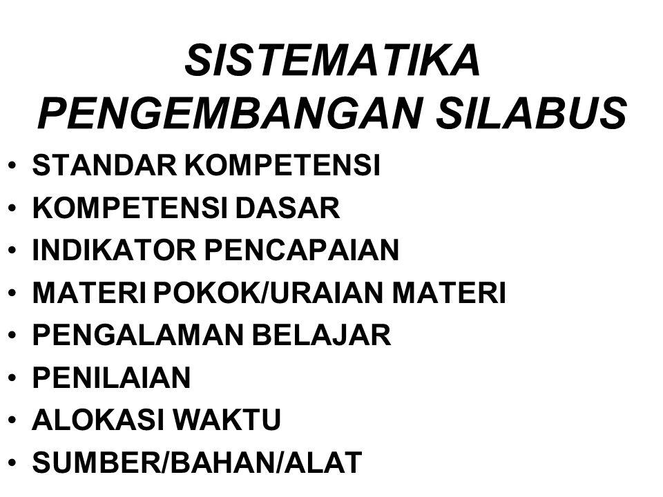 SISTEMATIKA PENGEMBANGAN SILABUS STANDAR KOMPETENSI KOMPETENSI DASAR INDIKATOR PENCAPAIAN MATERI POKOK/URAIAN MATERI PENGALAMAN BELAJAR PENILAIAN ALOKASI WAKTU SUMBER/BAHAN/ALAT