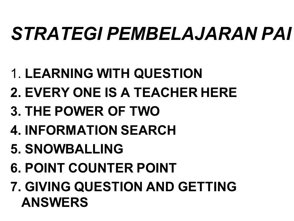 STRATEGI PEMBELAJARAN PAI 1.LEARNING WITH QUESTION 2.
