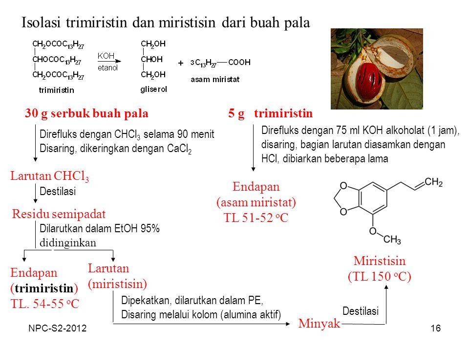 16 Isolasi trimiristin dan miristisin dari buah pala 30 g serbuk buah pala Direfluks dengan CHCl 3 selama 90 menit Disaring, dikeringkan dengan CaCl 2