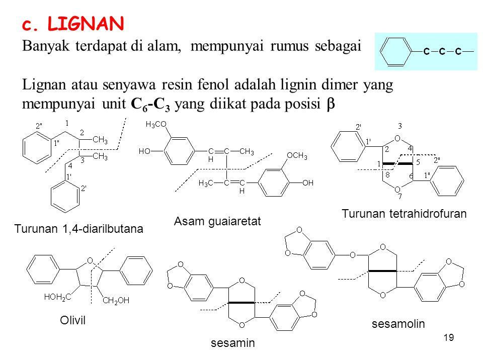 19 c. LIGNAN Banyak terdapat di alam, mempunyai rumus sebagai Lignan atau senyawa resin fenol adalah lignin dimer yang mempunyai unit C 6 -C 3 yang di