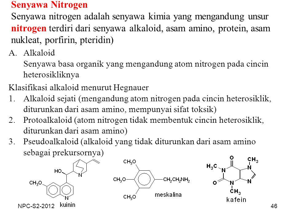 46 Senyawa Nitrogen Senyawa nitrogen adalah senyawa kimia yang mengandung unsur nitrogen terdiri dari senyawa alkaloid, asam amino, protein, asam nukl