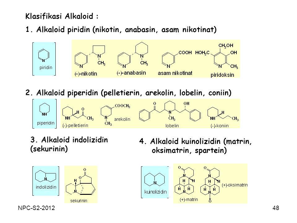 48 Klasifikasi Alkaloid : 1. Alkaloid piridin (nikotin, anabasin, asam nikotinat) 2. Alkaloid piperidin (pelletierin, arekolin, lobelin, coniin) 3. Al
