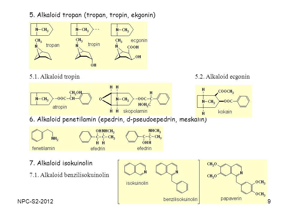 49 6. Alkaloid penetilamin (epedrin, d-pseudoepedrin, meskalin) 7. Alkaloid isokuinolin 7.1. Alkaloid benzilisokuinolin 5. Alkaloid tropan (tropan, tr