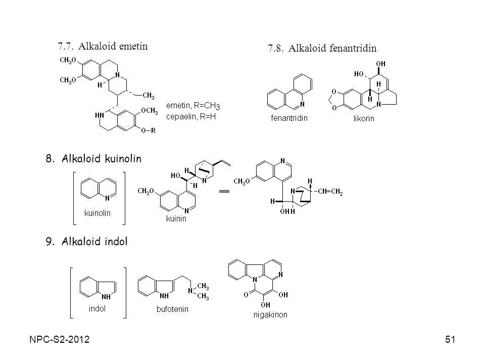 51 7.8. Alkaloid fenantridin 7.7. Alkaloid emetin 8. Alkaloid kuinolin 9. Alkaloid indol NPC-S2-2012