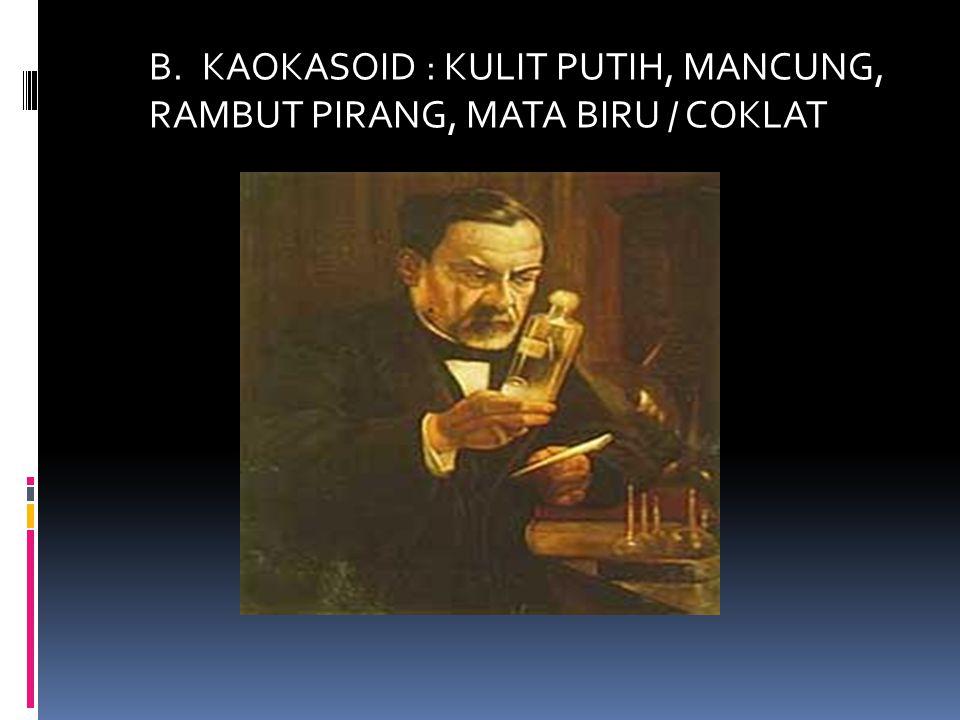 B.KAOKASOID : KULIT PUTIH, MANCUNG, RAMBUT PIRANG, MATA BIRU / COKLAT
