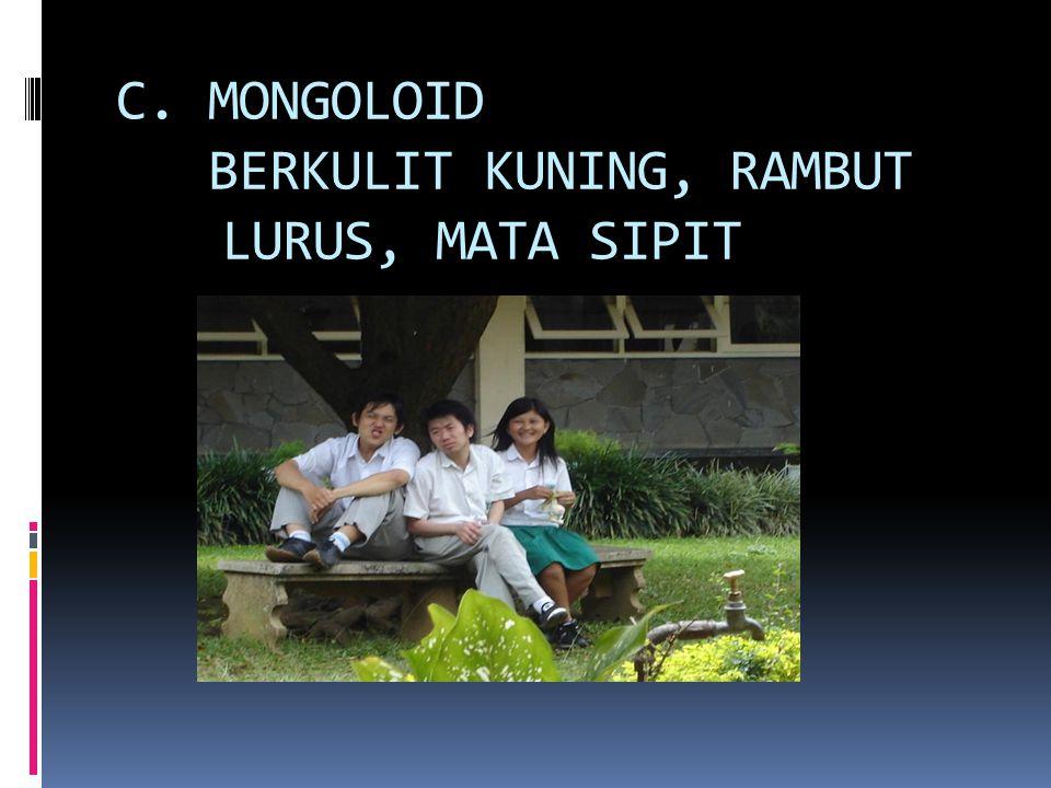 C. MONGOLOID BERKULIT KUNING, RAMBUT LURUS, MATA SIPIT
