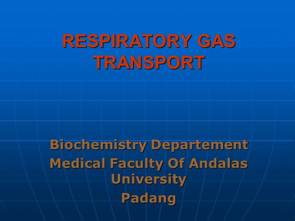 RESPIRATORY GAS TRANSPORT Biochemistry Departement Medical Faculty Of Andalas University Padang