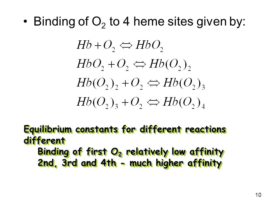 10 Binding of O 2 to 4 heme sites given by: Equilibrium constants for different reactions different Binding of first O 2 relatively low affinity 2nd, 3rd and 4th - much higher affinity Equilibrium constants for different reactions different Binding of first O 2 relatively low affinity 2nd, 3rd and 4th - much higher affinity
