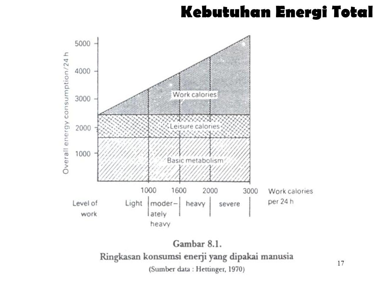 16 Macam Kebutuhan Energi  Konsumsi energi total terdiri atas :  Metabolisme basal  Kalori untuk bersantai  Kalori untuk bekerja  Kebutuhan energi :  Metabolisme dasar (tubuh sedang istirahat)  25 kalori/kg berat badan (wanita)  30 kalori/kg berat badan (pria)  Aktivitas ringan = (1+0.5) metabolisme dasar/kg berat badan  Aktivitas berat = (1+1) metabolisme dasar/kg berat badan