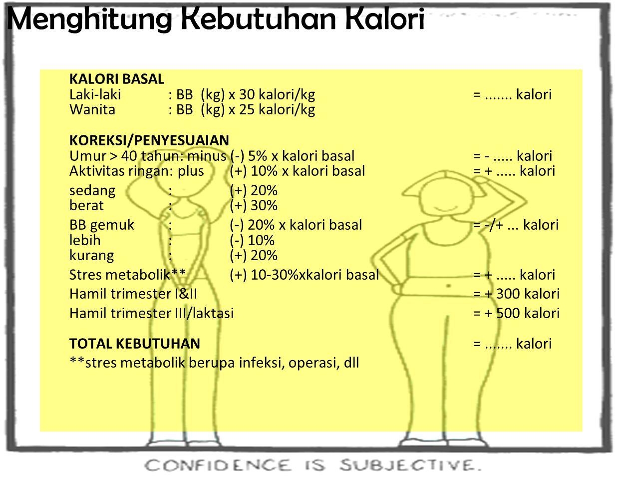 18 Cara Menentukan Kebutuhan Kalori  Hitung Indeks Massa Tubuh (IMT) IMT = berat badan (kg)/ [tinggi (m)] 2  Tentukan BB ideal dengan klasifikasi IMT BB kurang : = 23,0 BB lebih dengan risiko: 23,0 - 24,9 Obes I: 25,0 - 29,9 Obes II: >= 30  Hitung Kebutuhan Kalori