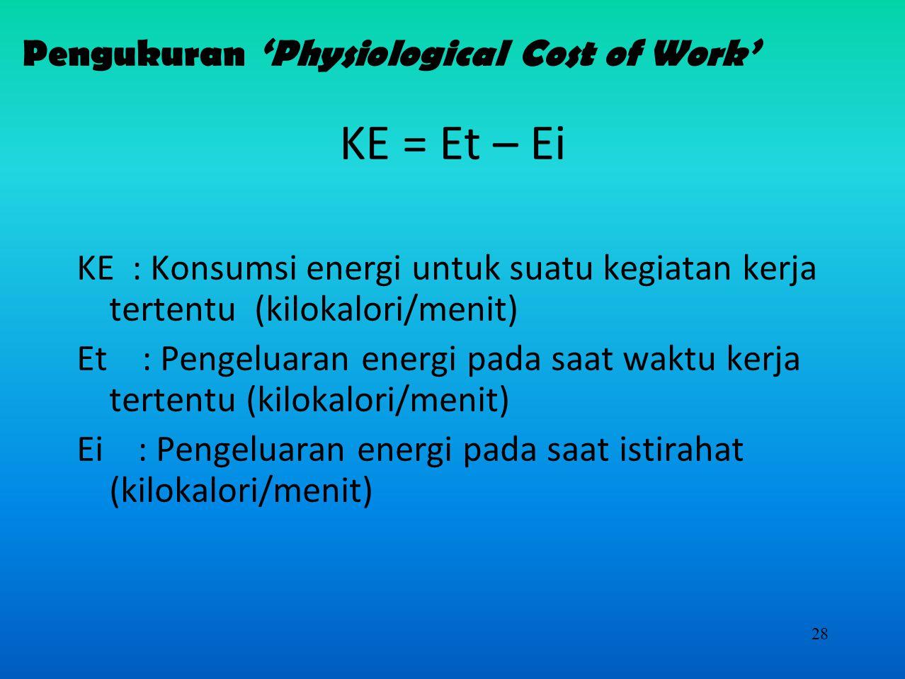 27 Pengukuran 'Physiological Cost of Work'  Secara Langsung melalui pengukuran konsumsi oksigen  Douglas bag  oxylog  Tidak Langsung  Pengukuran denyut nadi yang akan dikonversikan ke bentuk energi Y = 1.80411 – 0.0229038 (X) + 4.71733(X 2 )(10 -4 ) Y = energi yang dikeluarkan (kkal/menit) X = kecepatan denyut nadi (denyut/menit)  Denyut nadi maksimum Maks denyut nadi = 200-0.65 x usia (dalam tahun)