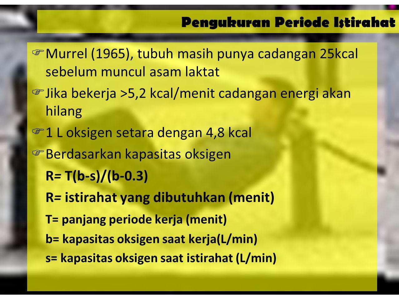 33 Standar untuk Energi Kerja  Maksimum energi yang dikonsumsi untuk melaksanakan kerja fisik berat secara terus menerus = 5,2 Kkal/menit  Dapat pula dikonversikan dalam bentuk: –Konsumsi oksigen = 1,08 liter Oksigen/menit –Tenaga/Daya = 21,84 KJ/menit = 364 watt