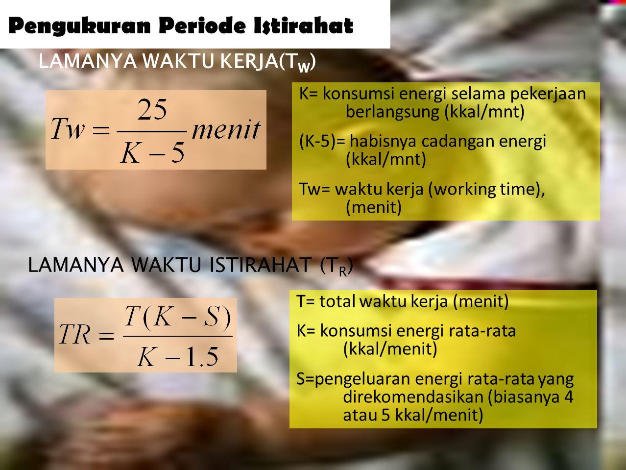 34 Pengukuran Periode Istirahat  Murrel (1965), tubuh masih punya cadangan 25kcal sebelum muncul asam laktat  Jika bekerja >5,2 kcal/menit cadangan energi akan hilang  1 L oksigen setara dengan 4,8 kcal  Berdasarkan kapasitas oksigen R= T(b-s)/(b-0.3) R= istirahat yang dibutuhkan (menit) T= panjang periode kerja (menit) b= kapasitas oksigen saat kerja(L/min) s= kapasitas oksigen saat istirahat (L/min)