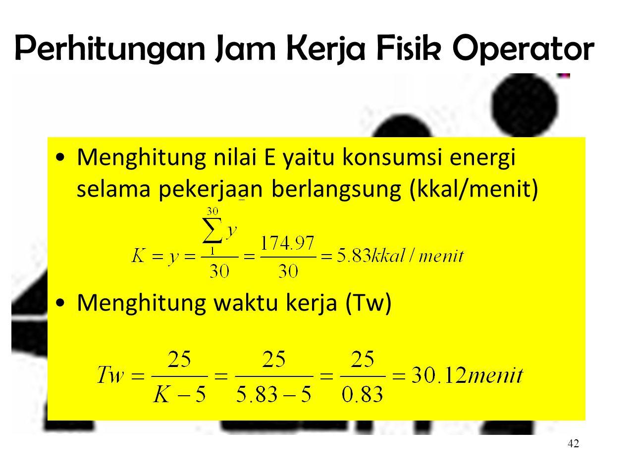 41 Pengukuran Periode Istirahat  Nurmianto (1996) LAMANYA WAKTU KERJA(T W ) LAMANYA WAKTU ISTIRAHAT (T R ) K= konsumsi energi selama pekerjaan berlangsung (kcal.mnt) (K-5)= habisnya cadangan energi (kcal/mnt) Tw= waktu kerja (working time), (menit) Waktu istirahat ini adalah konstan dan diasumsikan berdasar pada cadangan energi 25 Kkal sebelum munculnya asam laktat