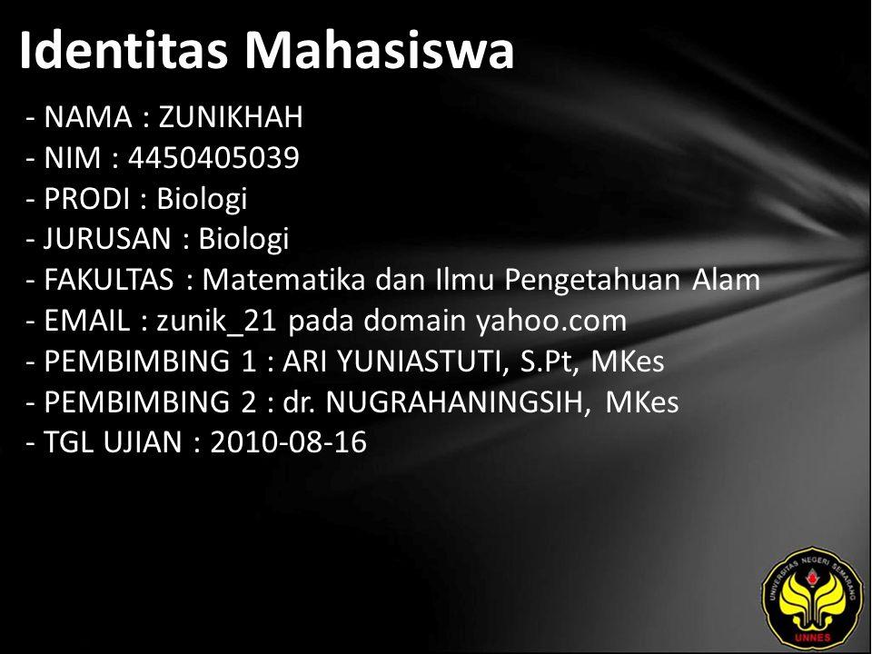 Identitas Mahasiswa - NAMA : ZUNIKHAH - NIM : 4450405039 - PRODI : Biologi - JURUSAN : Biologi - FAKULTAS : Matematika dan Ilmu Pengetahuan Alam - EMAIL : zunik_21 pada domain yahoo.com - PEMBIMBING 1 : ARI YUNIASTUTI, S.Pt, MKes - PEMBIMBING 2 : dr.