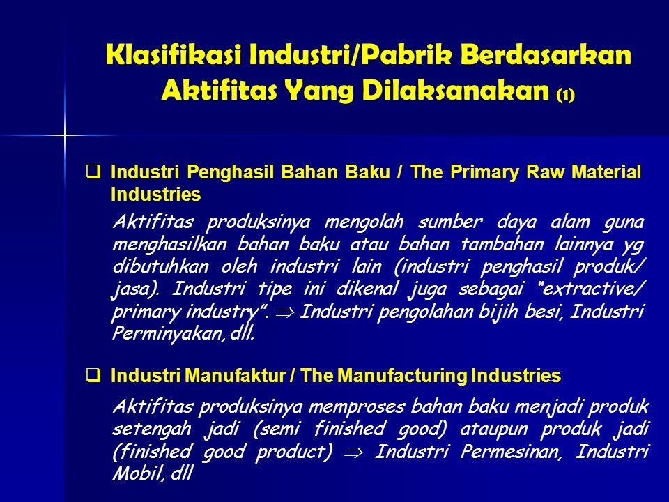 Klasifikasi Industri/Pabrik Berdasarkan Aktifitas Yang Dilaksanakan (1)  Industri Penghasil Bahan Baku / The Primary Raw Material Industries Aktifitas produksinya mengolah sumber daya alam guna menghasilkan bahan baku atau bahan tambahan lainnya yg dibutuhkan oleh industri lain (industri penghasil produk/ jasa).