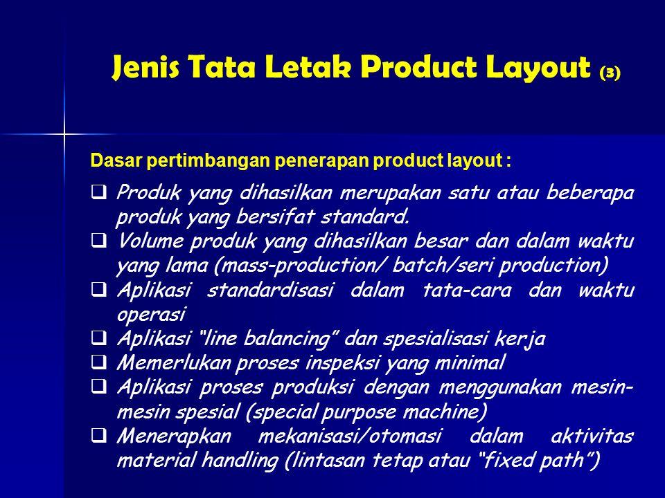 Jenis Tata Letak Product Layout (3)  Produk yang dihasilkan merupakan satu atau beberapa produk yang bersifat standard.