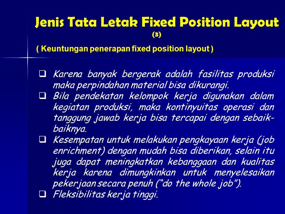 Jenis Tata Letak Fixed Position Layout (3) ( Keuntungan penerapan fixed position layout )  Karena banyak bergerak adalah fasilitas produksi maka perpindahan material bisa dikurangi.