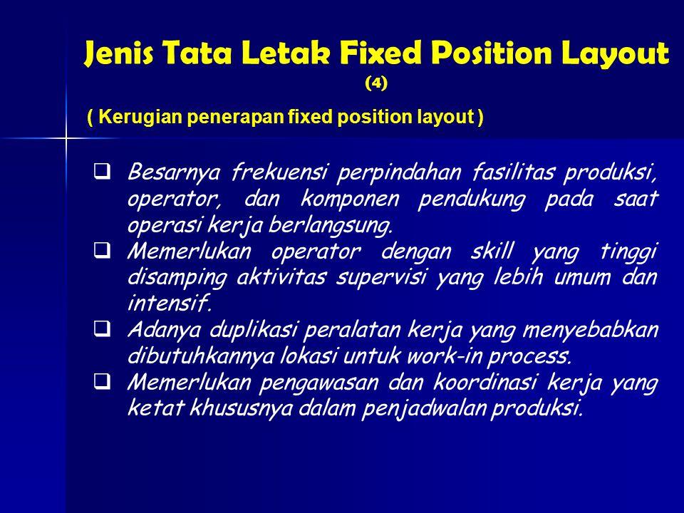 Jenis Tata Letak Fixed Position Layout (4) ( Kerugian penerapan fixed position layout )  Besarnya frekuensi perpindahan fasilitas produksi, operator, dan komponen pendukung pada saat operasi kerja berlangsung.