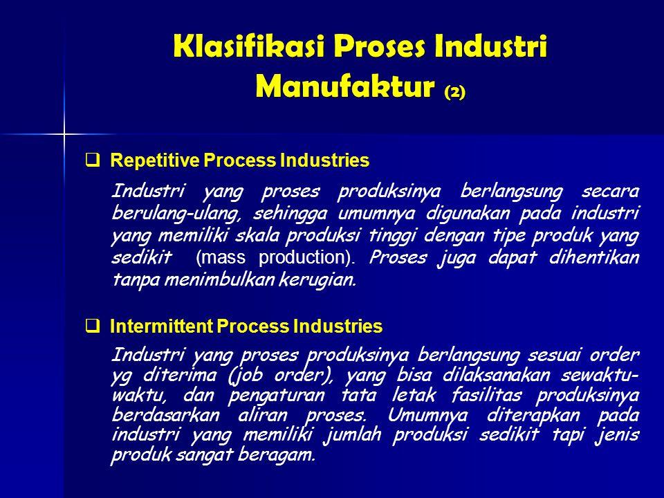  Intermittent Process Industries Industri yang proses produksinya berlangsung sesuai order yg diterima (job order), yang bisa dilaksanakan sewaktu- waktu, dan pengaturan tata letak fasilitas produksinya berdasarkan aliran proses.
