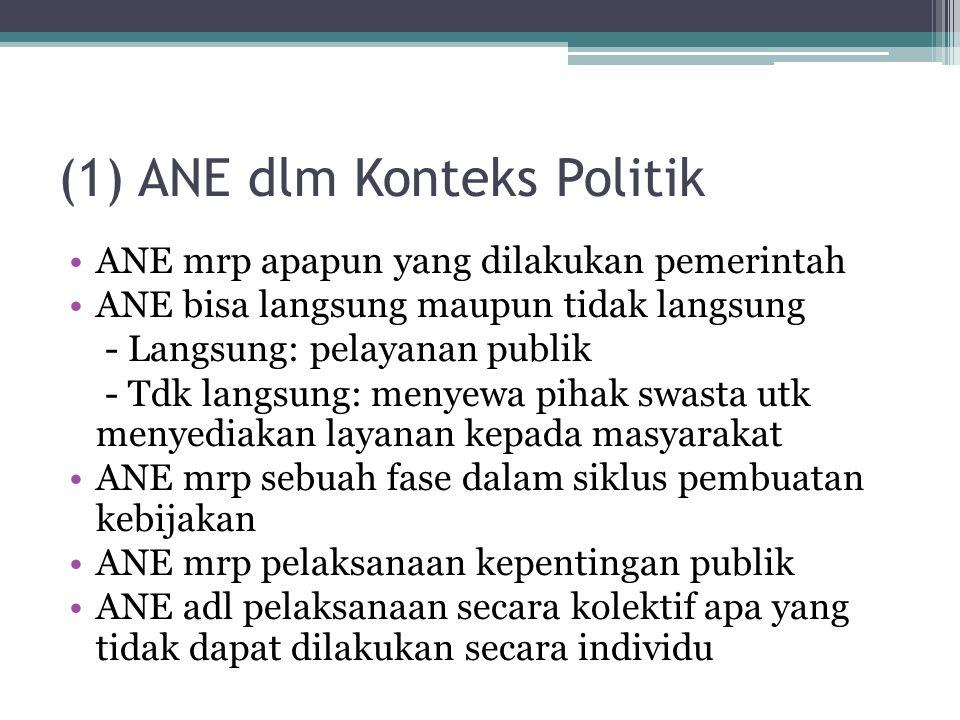 (1) ANE dlm Konteks Politik ANE mrp apapun yang dilakukan pemerintah ANE bisa langsung maupun tidak langsung - Langsung: pelayanan publik - Tdk langsu