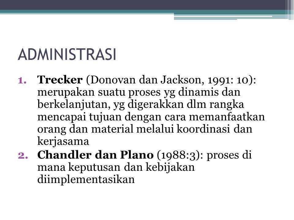 ADMINISTRASI 1.Trecker (Donovan dan Jackson, 1991: 10): merupakan suatu proses yg dinamis dan berkelanjutan, yg digerakkan dlm rangka mencapai tujuan