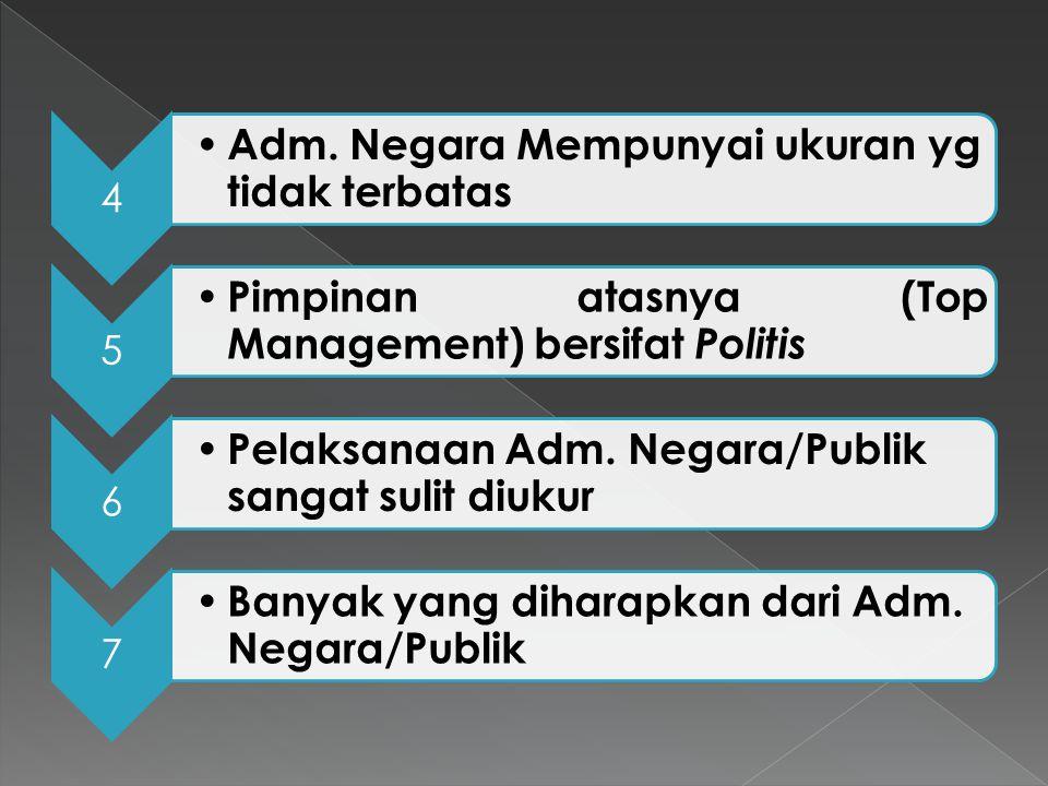 "1 Adm. Negara/Publik adalah suatu kegiatan yg ""unavoidable"" 2 Adm.Negara/publik memerlukan kepatuhan 3 Adm. Negara mempunyai Prioritas"