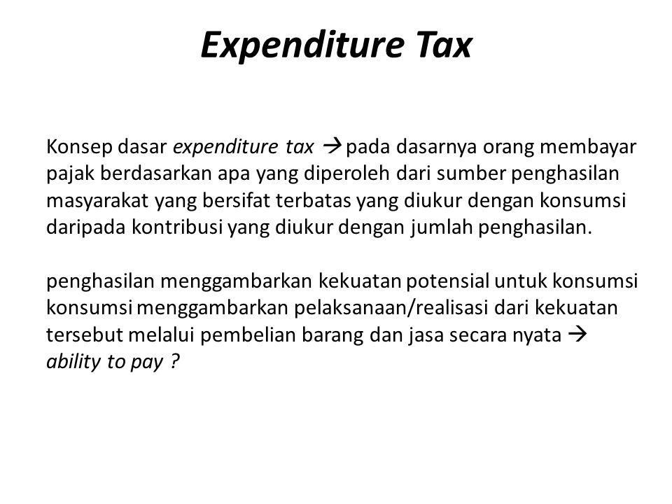 PAJAK ATAS KONSUMSI Expenditure Based Pajak langsung berbasis pengeluaran/konsumsi Income Based Dikenakan langsung atas penghasilan ketika penghasilan diterima/diperoleh oleh wajib pajak.