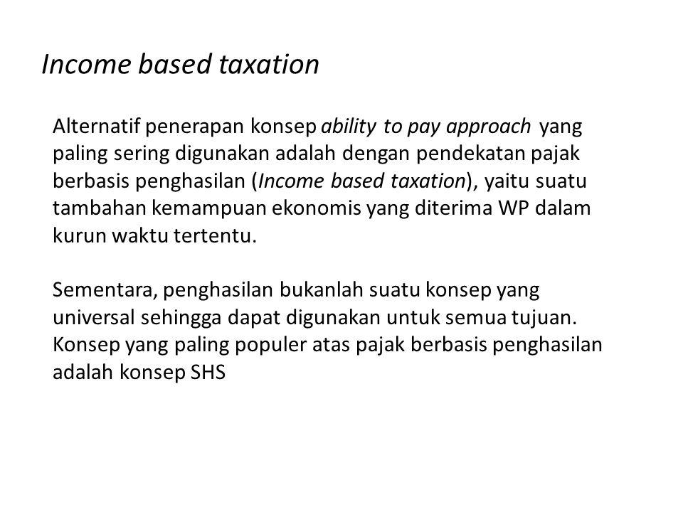 Income based taxation Alternatif penerapan konsep ability to pay approach yang paling sering digunakan adalah dengan pendekatan pajak berbasis penghas