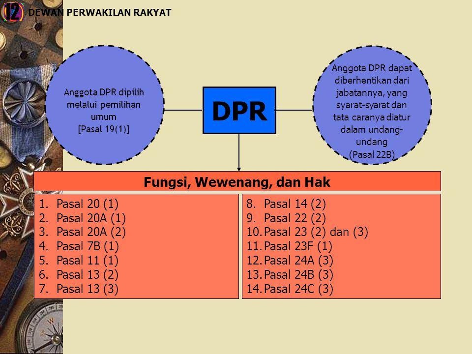 DPR Anggota DPR dipilih melalui pemilihan umum [Pasal 19(1)] Anggota DPR dapat diberhentikan dari jabatannya, yang syarat-syarat dan tata caranya diat
