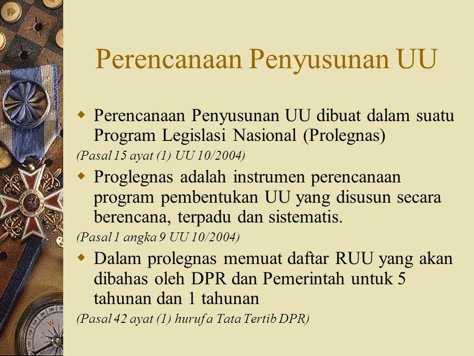 Perencanaan Penyusunan UU  Perencanaan Penyusunan UU dibuat dalam suatu Program Legislasi Nasional (Prolegnas) (Pasal 15 ayat (1) UU 10/2004)  Progl