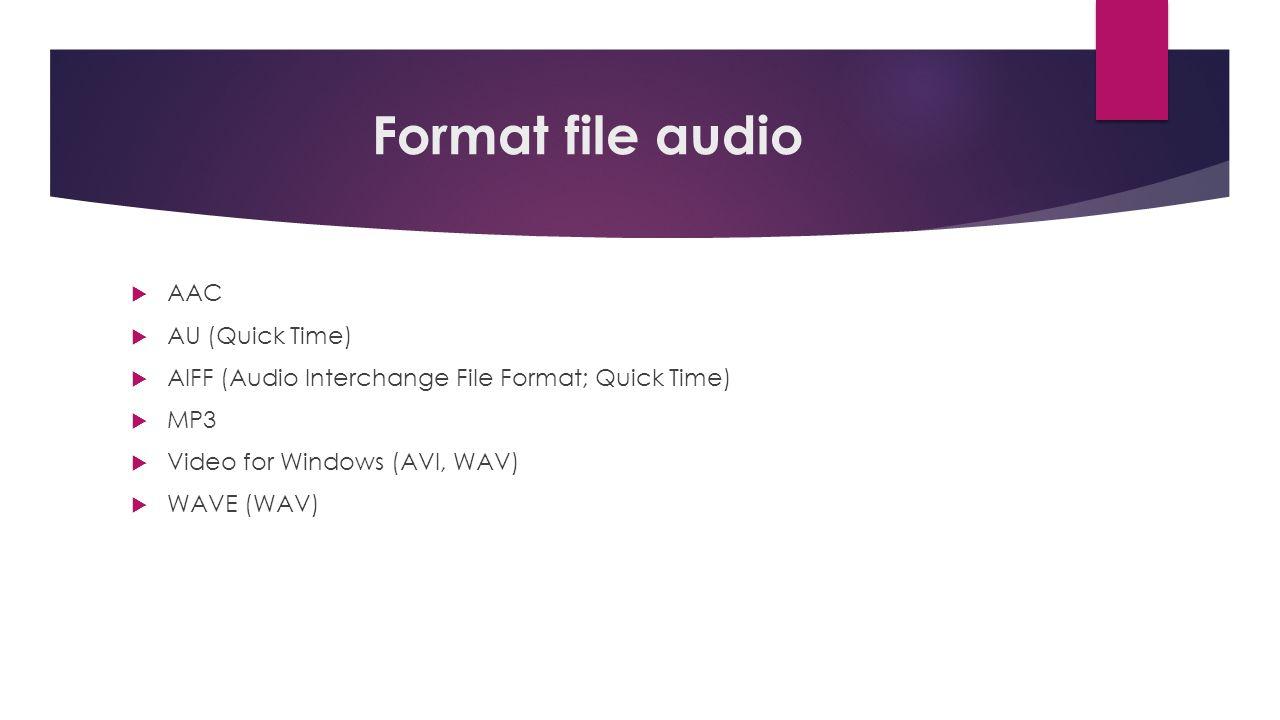 Format file audio  AAC  AU (Quick Time)  AIFF (Audio Interchange File Format; Quick Time)  MP3  Video for Windows (AVI, WAV)  WAVE (WAV)